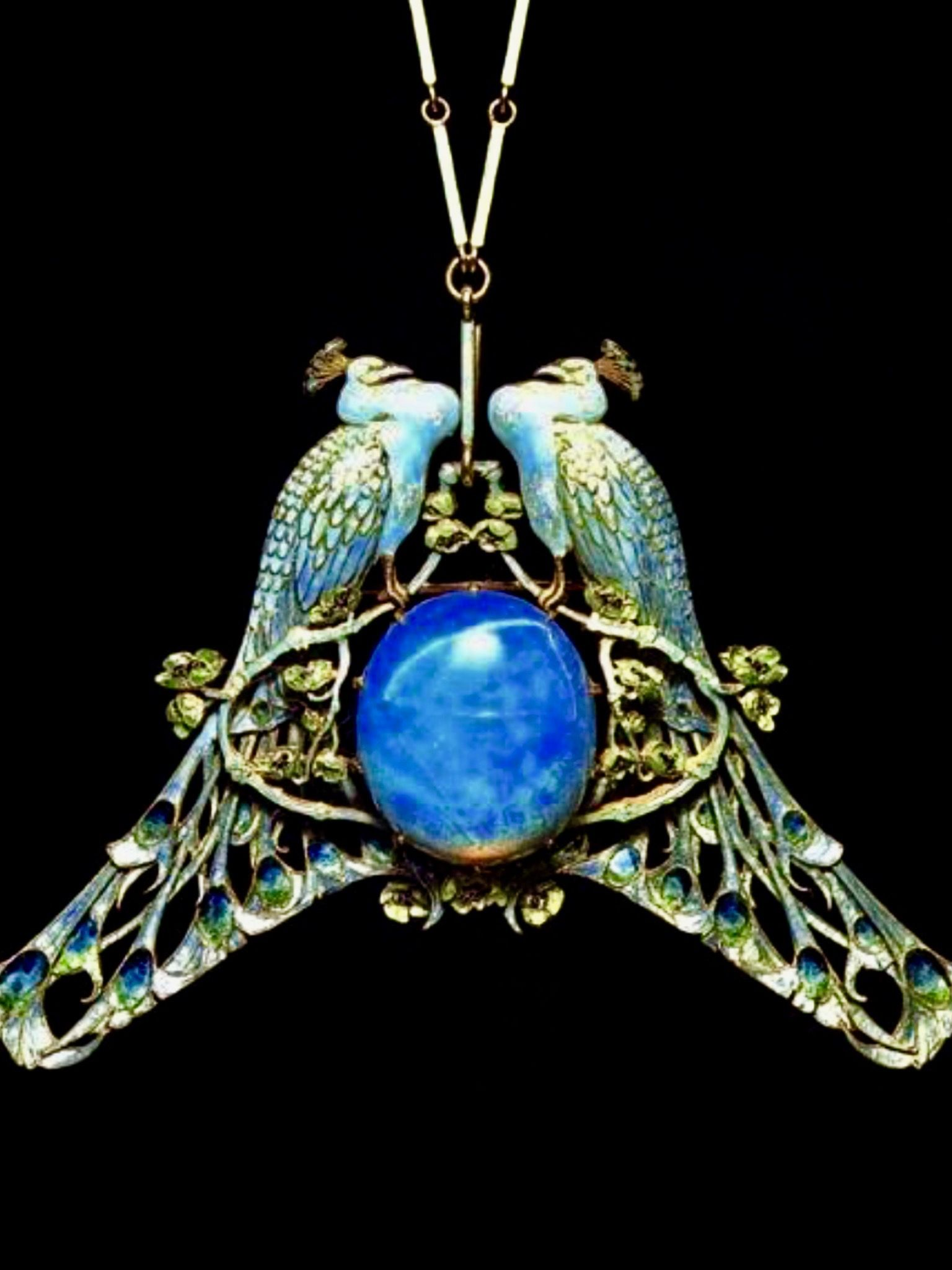 art nouveau jewellery peacock pendant jewellery Art Nouveau peacock necklace
