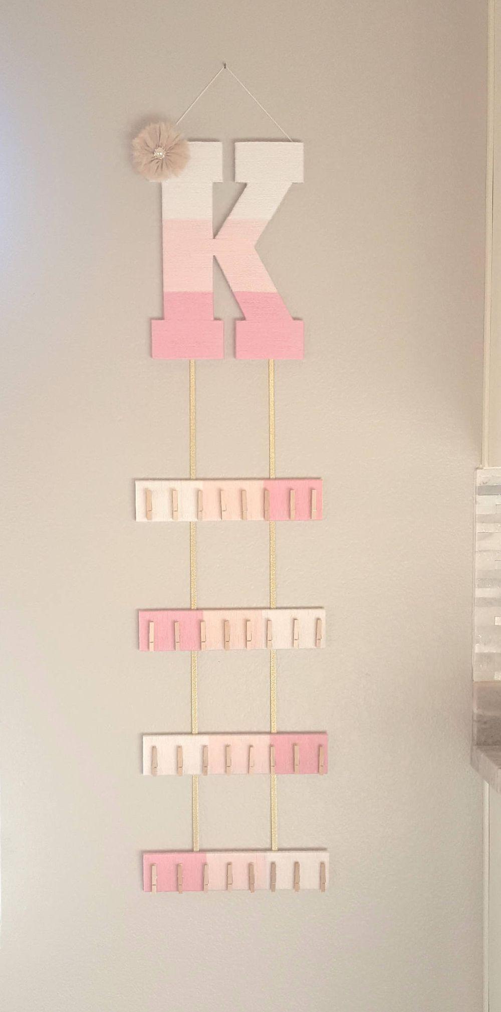 Hair Bow Holder, Headband Holder, Ombre Letter, Pink Yarn Letter, Nursery Letter K, Custom Gold Bow, Baby Door Hanger, Girls Room Decor images