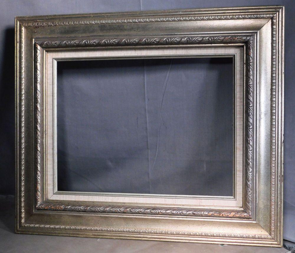 Vintage Modern 1968 Spanish Baroque Carved Wood Silver Leaf Picture Frame 12x16 Picture Frames Frame Modern Vintage