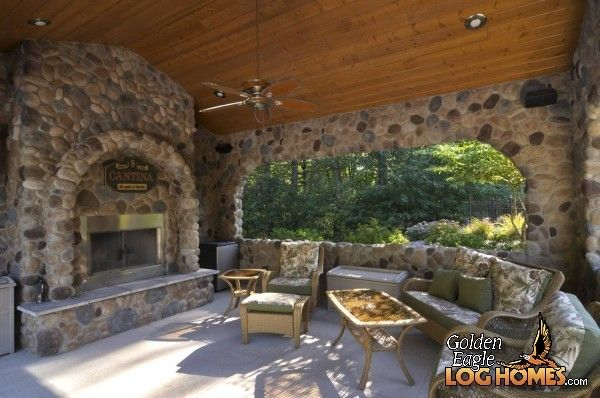 Awesome Log Cabin Stone Fireplaces