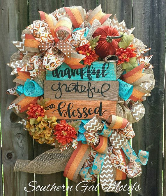 thankful grateful and blessed wreath check out this item in my etsy shop https www etsy com listing 469167611 blessed wreathfall wreaththanksgiving