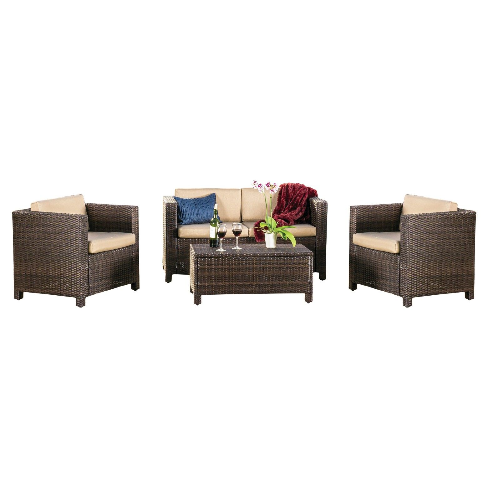 Christopher Knight Home Puerta 4pc Outdoor Wicker Sofa set