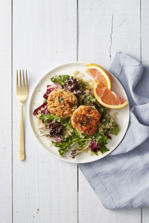 This sophisticated main pairs perfectly with a glass of Pinot. Just saying.  Get the recipe for Wild-Salmon Cakes with Quinoa Salad»