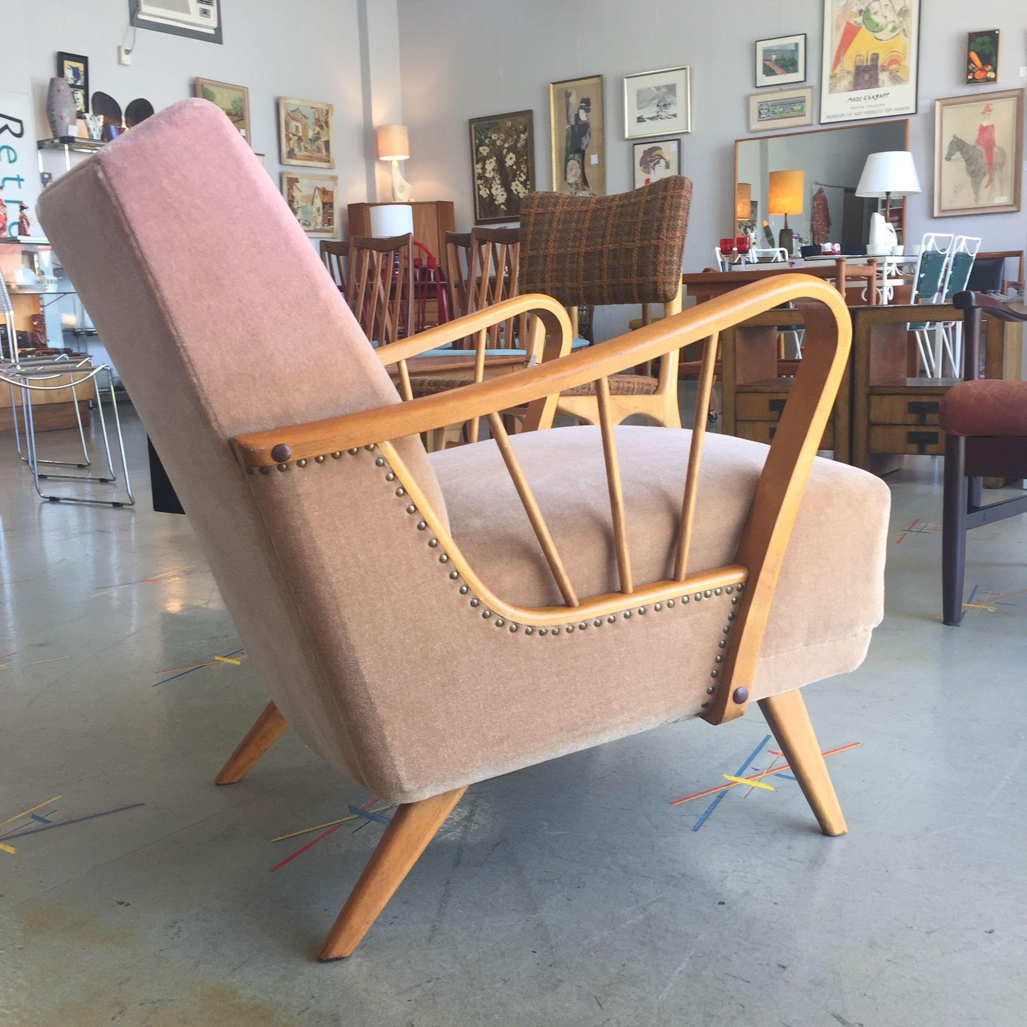 vintage 1950's pink velvet armchair Retro Active Retro