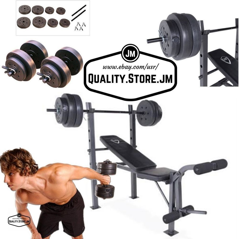 weight bench set press with weights and bar dumbells adjustable gym