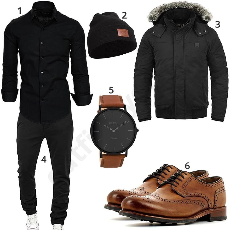 Schwarzes Herrenoutfit mit Hemd, Chino und Armbanduhr (m0799)  schwarz   braun  uhr  jacke  mütze  outfit  style  fashion  ootd  herrenmode   männermode ... faa3cdb5dd