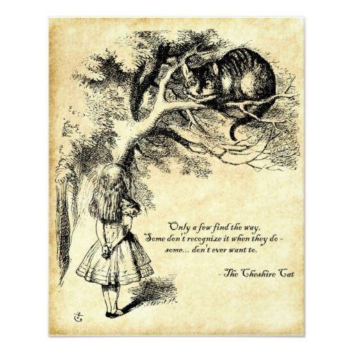Alice in Wonderland Cheshire Cat quote Poster inspired in Alice/'s Adventures in Wonderland in beige Alice Wonderland Poster art print