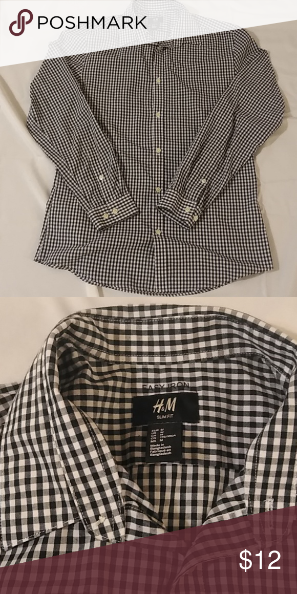 c73788d73908 Stylish shirt with easy iron features Slim fit long sleeve men's button  down shirt that is easy to iron that's Navy and white checkered. H&M Shirts  Dress ...