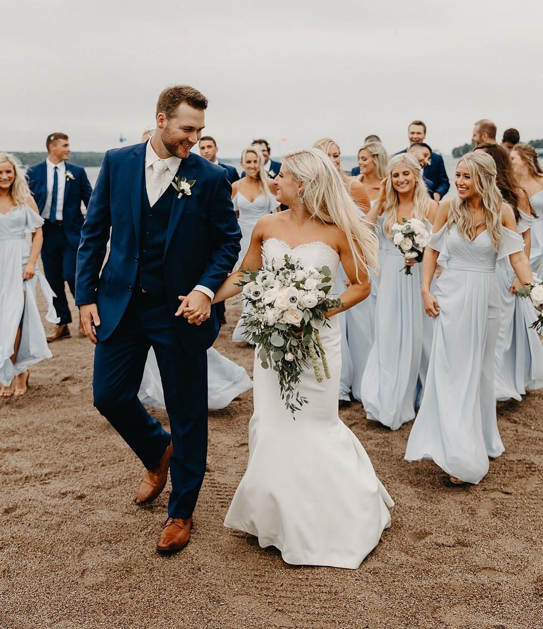 Janelle Elise On Instagram The Dusty Blue Bridesmaid Dresses And Navy Su Blue Bridesmaid Dresses Beach Beach Bridesmaid Dresses Dusty Blue Bridesmaid Dresses