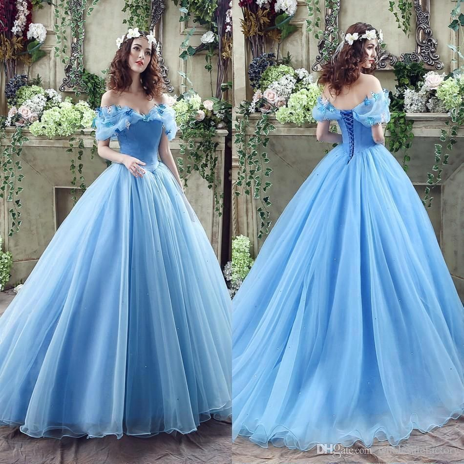 2016 real image cinderella ocean blue prom dresses off for Ocean blue wedding dress