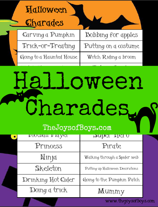 picture about Halloween Charades Printable named Halloween Charades: Printable Halloween Video game Small children crafts