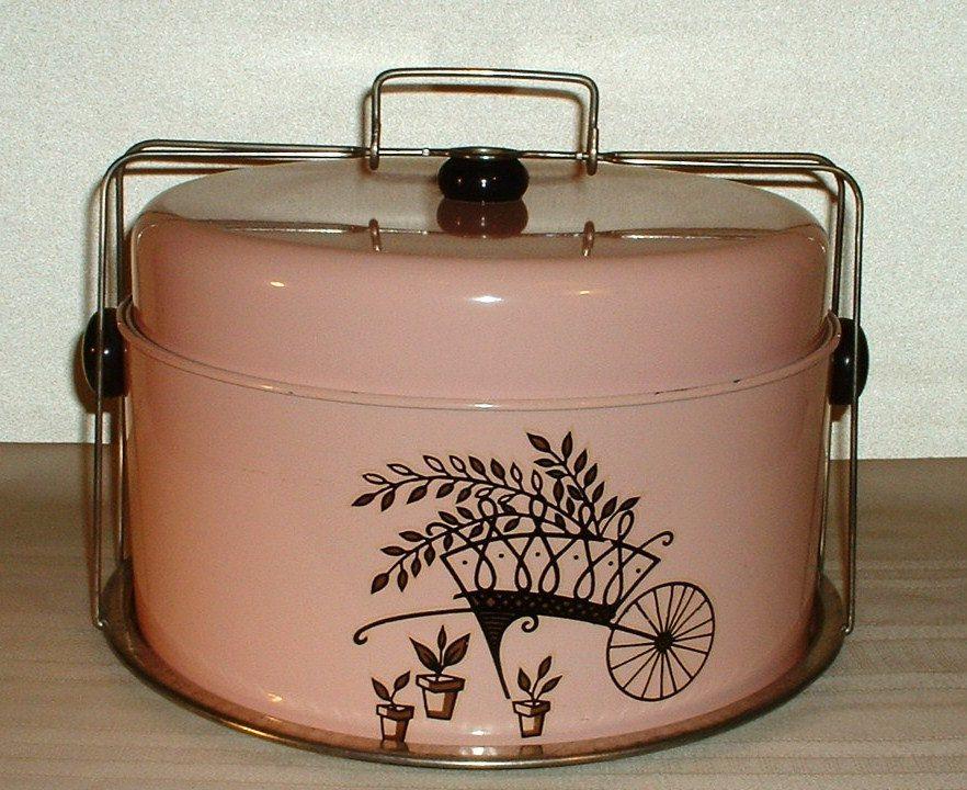 Image detail for vintage pink black cake carrier