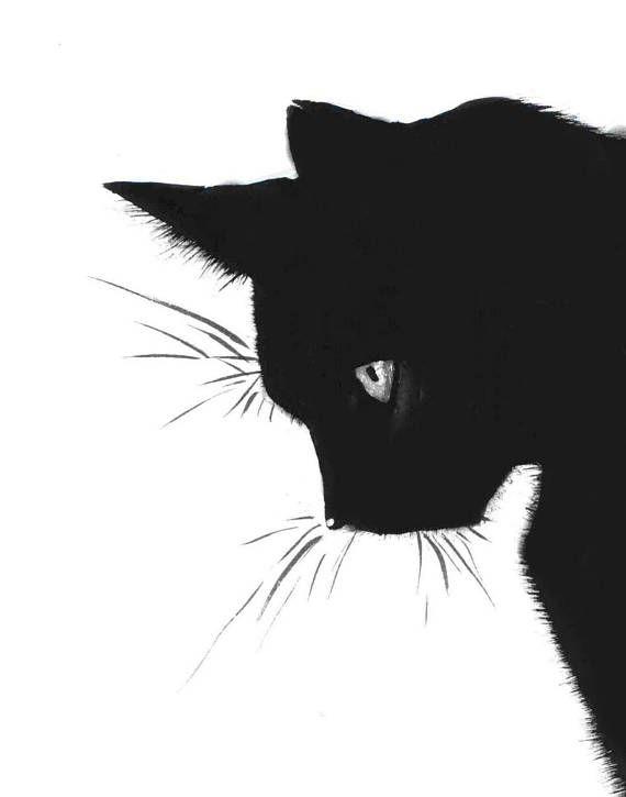 cat print black cat printable art cat art art print wall