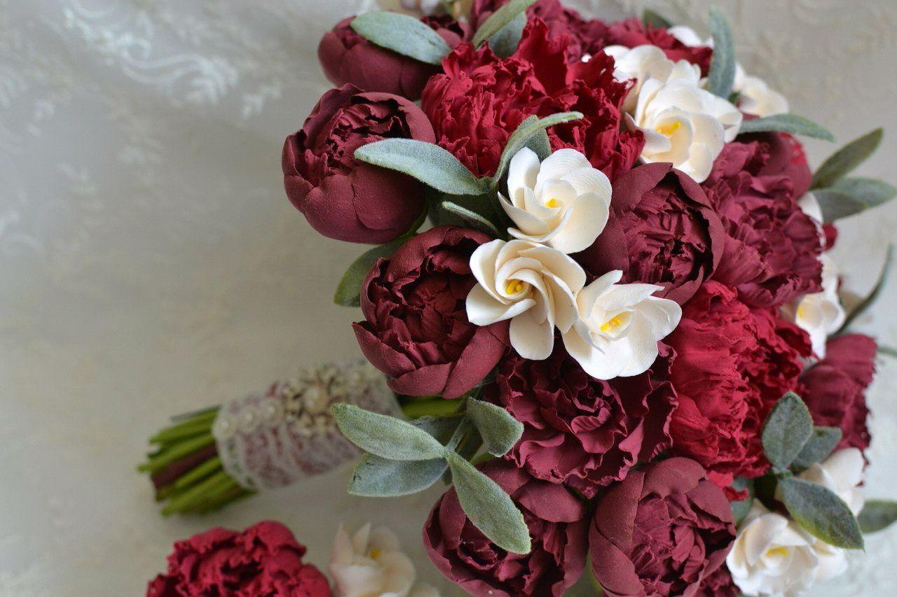 Букет москва, свадебный букет цвета марсала из пионов