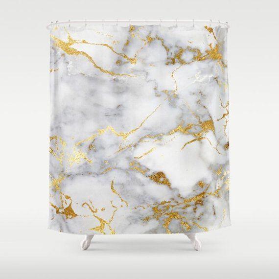 Marble Shower Curtain Gold Girls Bathroom Decor Teen Room Curt