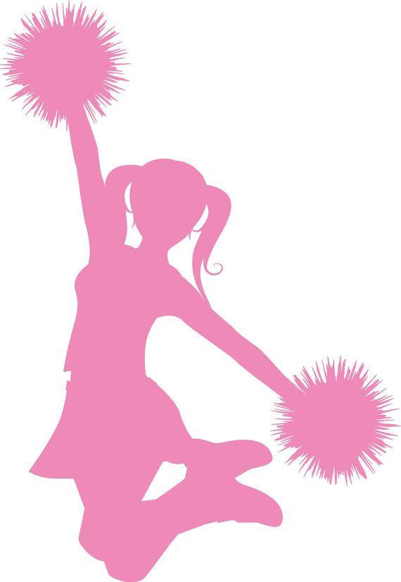 FREE cheer sillohette clip art black and white | Cheerleader clip ...