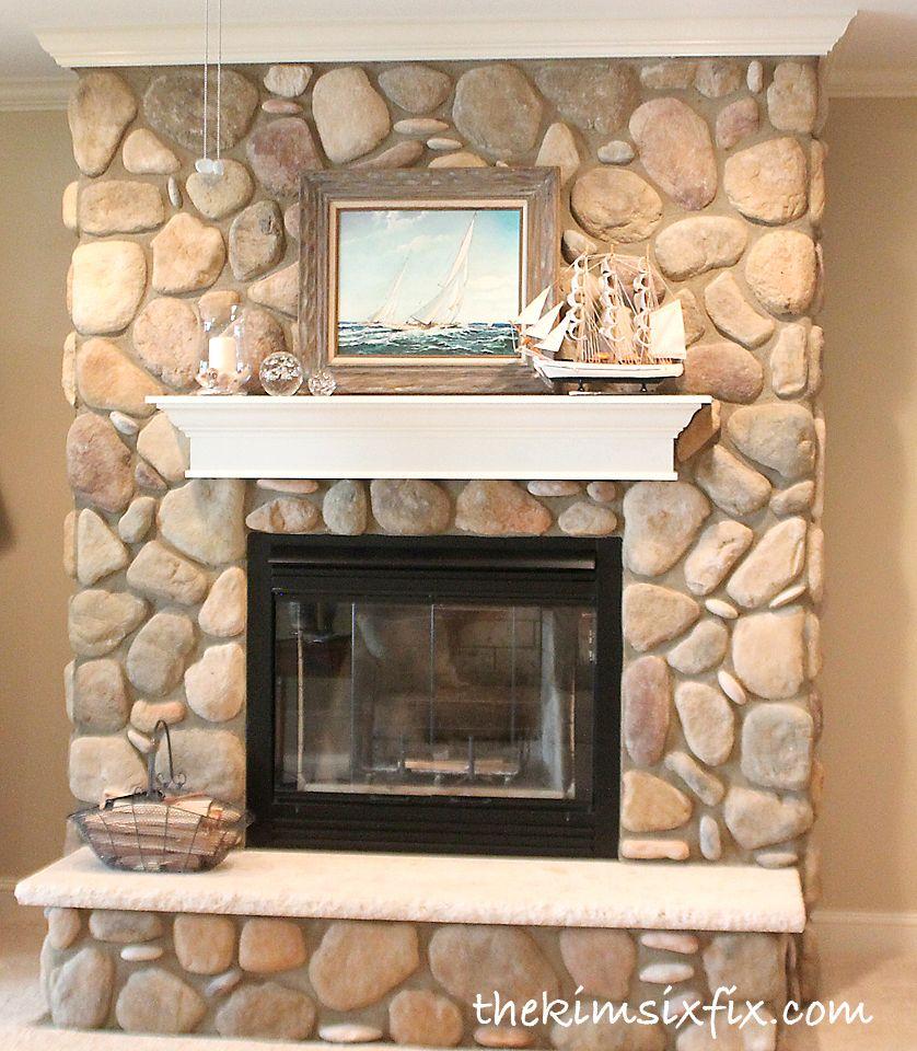 River Rock Fireplace Google Search River Rock Fireplaces Painted Stone Fireplace Rock Fireplaces