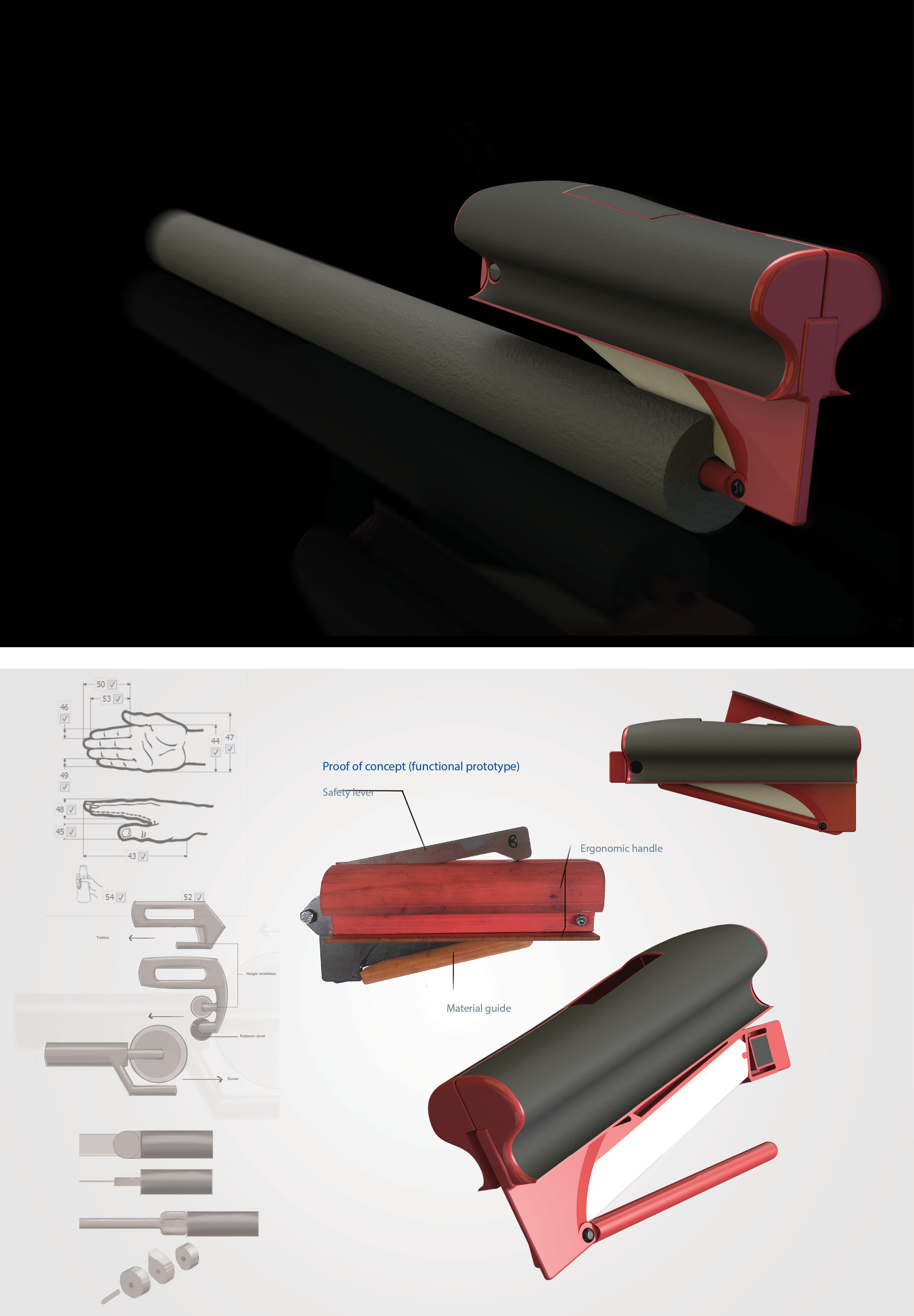 Design of a tool that aids in cutting insulation material. Published in 'Tijdschrijft voor Ergonomie 39, 2011'.