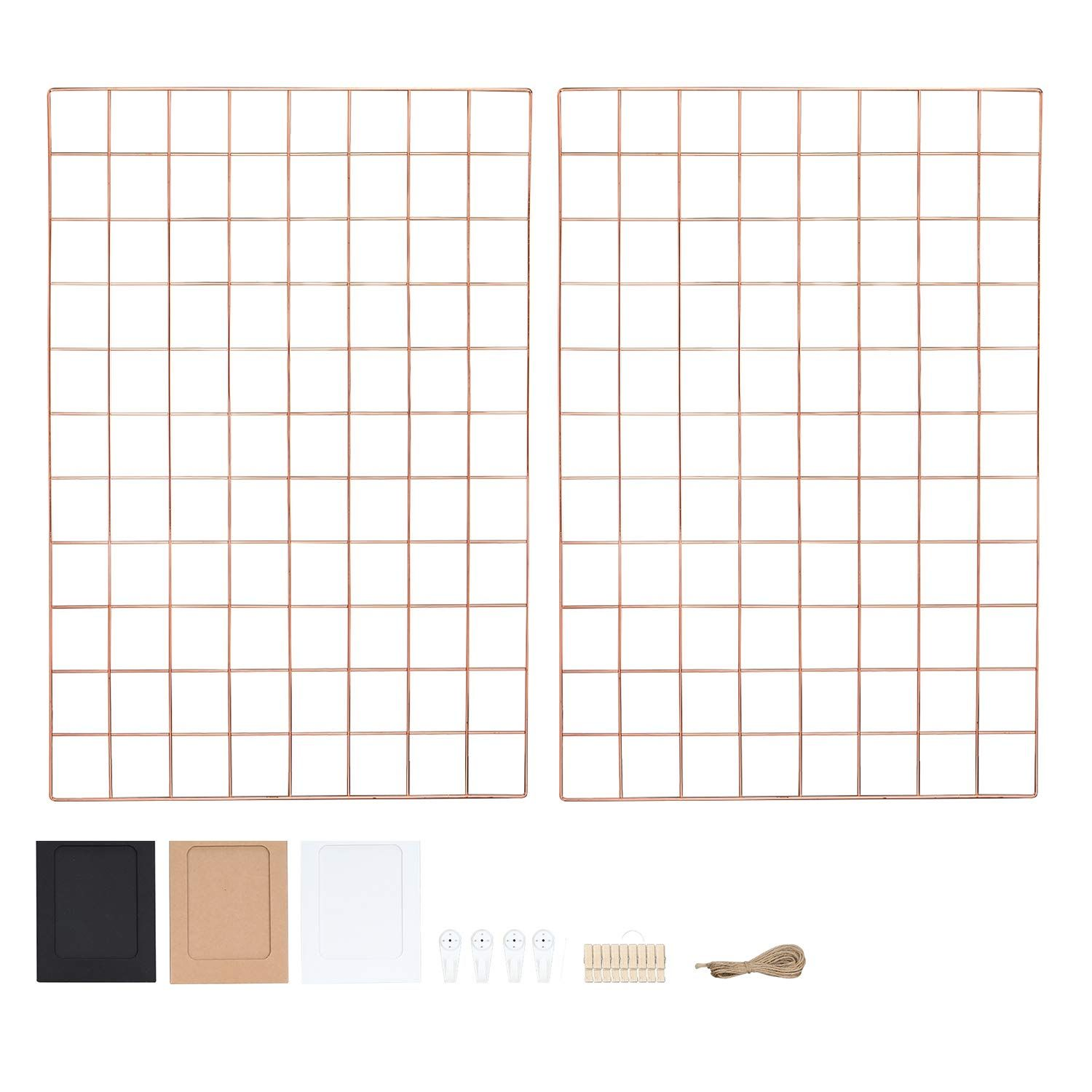Rose Gold Photo Wall Grid Panel Set Of 2 Wire Notice Board Display Boards Wire Wall Grid Memo Board Multifunctional M In 2020 Hanging Pictures Photo Decor Picture Wall