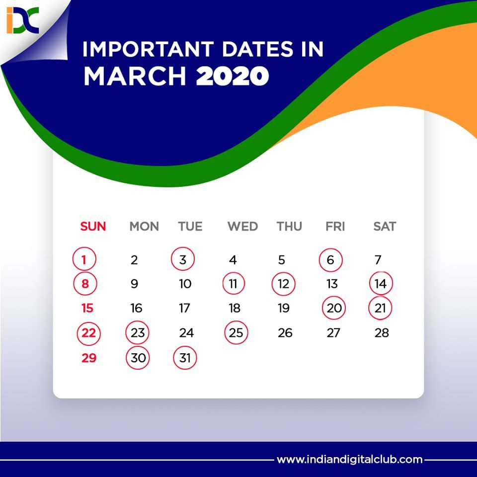 Important Dates in March 2020 in 2020 Important days in