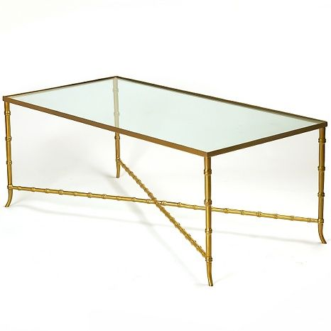 Nate Berkus Glass Top Bamboo Style Metal Table With Images