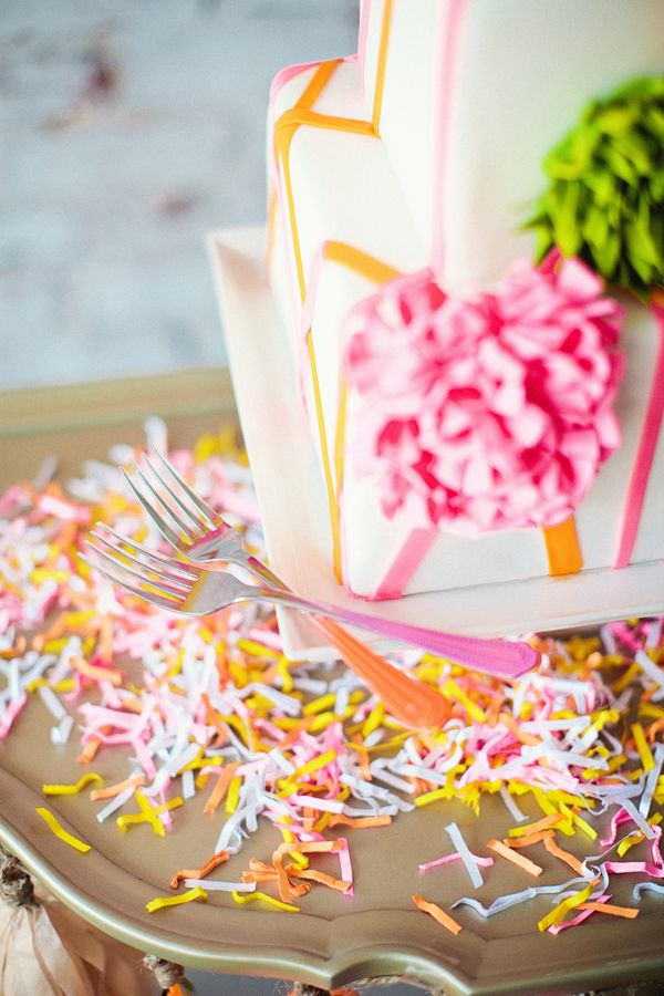 confetti on the cake table // styled by Emerson Events #neon