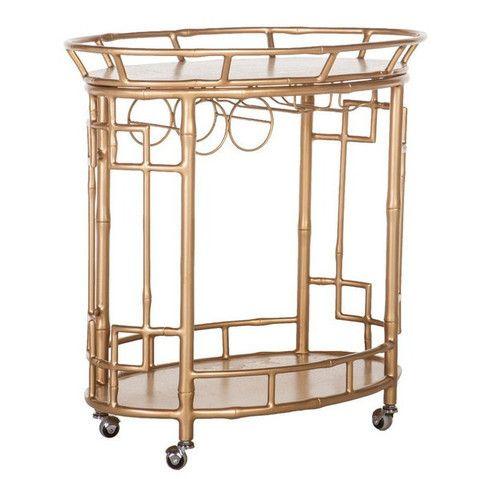 New Gold Bamboo Bar Cart