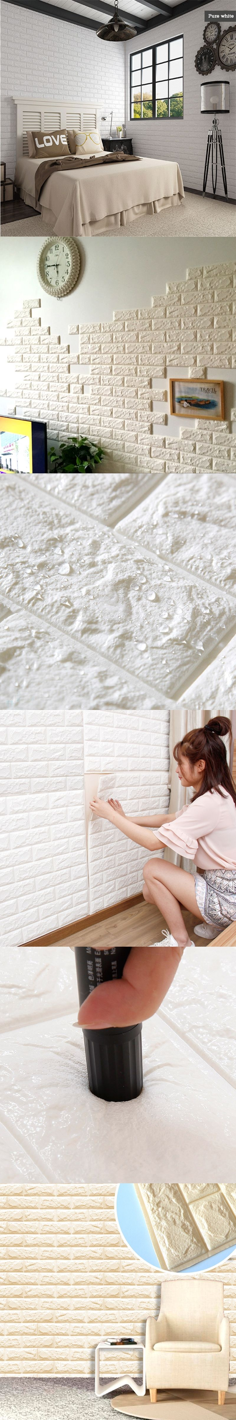 1Pcs 3D Wall Stickers Self Adhesive Wallpaper Brick Wall Wall