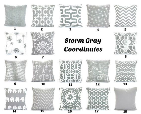 Gray Throw Pillow Covers Grey White Cushions Decorative Pillows Chevron Nursery Decor Geom