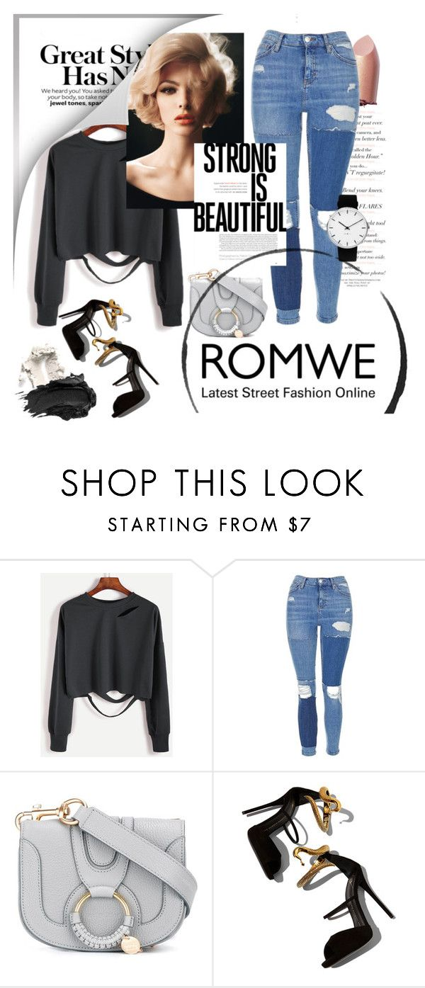 """""""Romwe: Cool Sweatshirt"""" by aleksandra985 ❤ liked on Polyvore featuring Topshop, See by Chloé, Giuseppe Zanotti, Rosendahl and Urban Decay"""