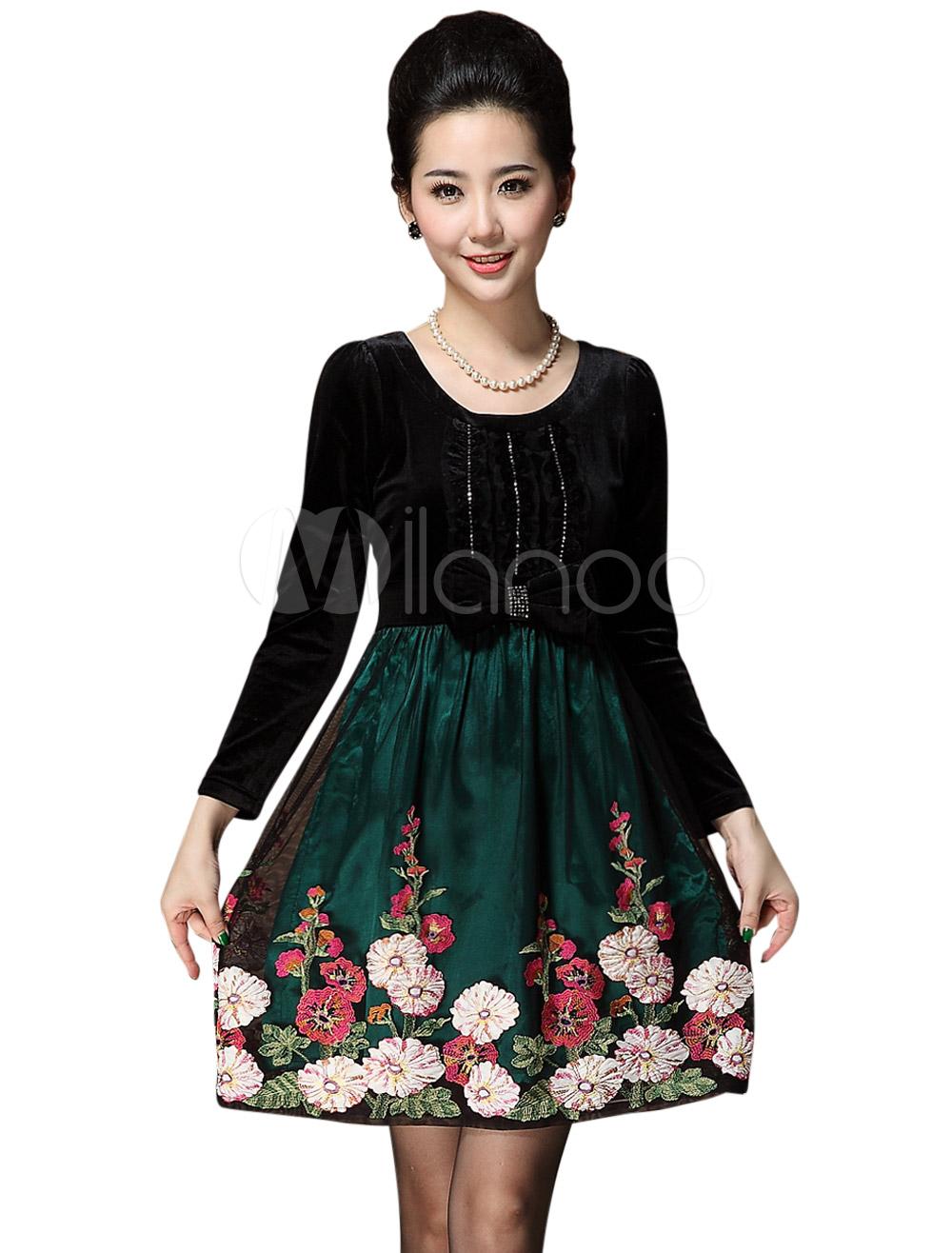 Milanoo ltd vintage dresses attractive long sleeves floral