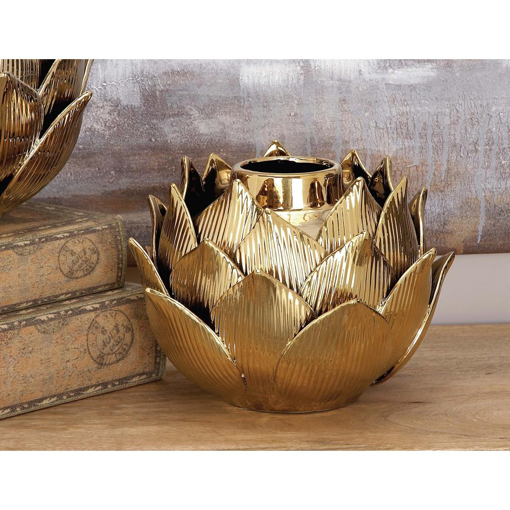 8 in. Ceramic Petals and Bud Decorative Vase in Gold, Yellows/Golds