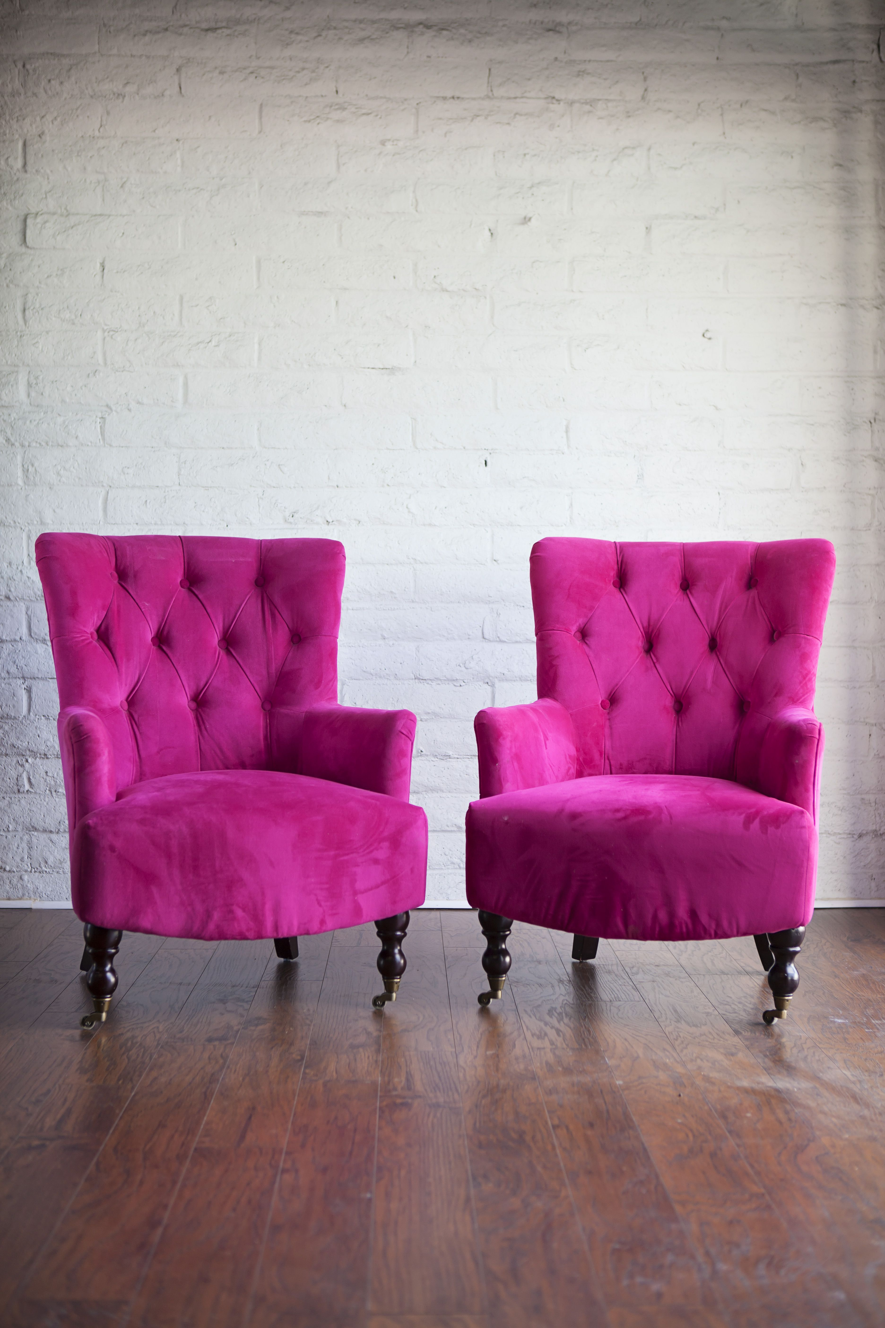 Pair Of Pink Tufted Chairs Great For Photography And Props Www