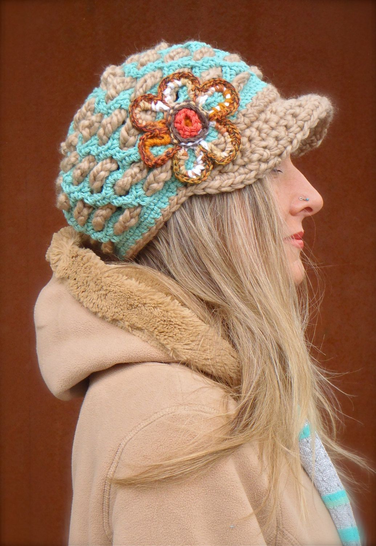 BOHEMIAN Slouchy Beanie crochet slouch hat FLOWER cap NEWSBOY hat ...