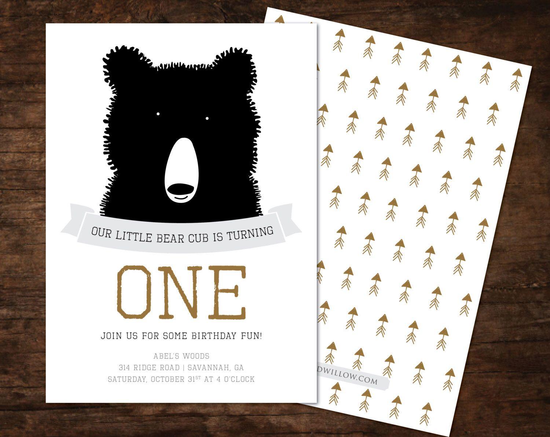 Bear birthday invitation, bear invitation, bear birthday, camping ...