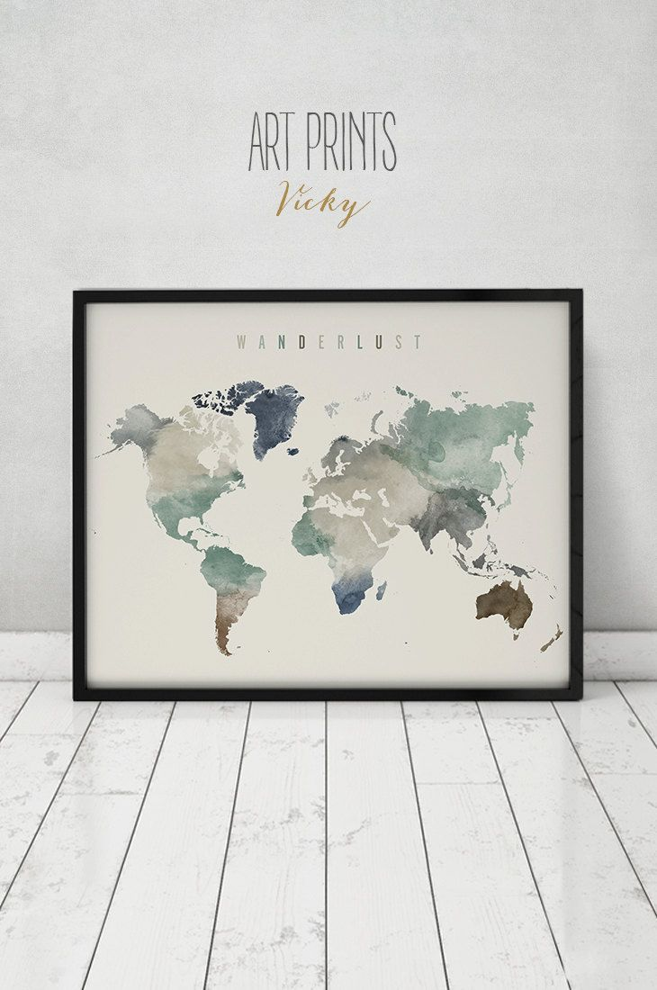 Wanderlust world map watercolor print world map poster large wanderlust world map watercolor print world map poster large world map travel map watercolor home decor fine art prints artprintsvicky gumiabroncs Image collections