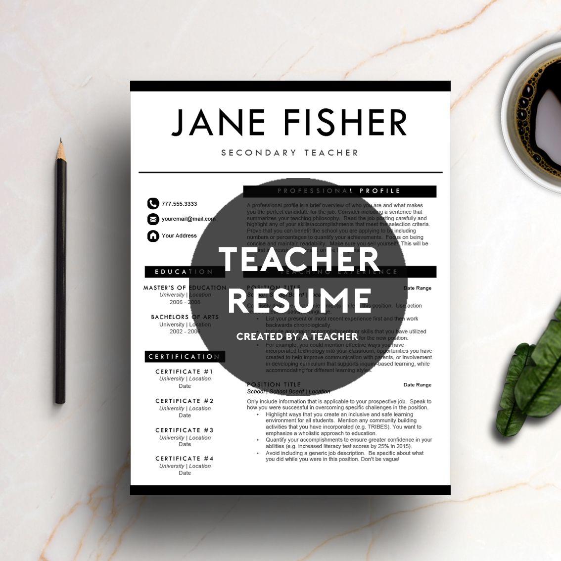 A professionally designed teacher resume template created