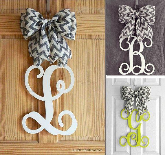 Monogram Door Hanger With Gray Chevron Bow Custom Door Decor In Assorted Colors Dorm Door Decorations