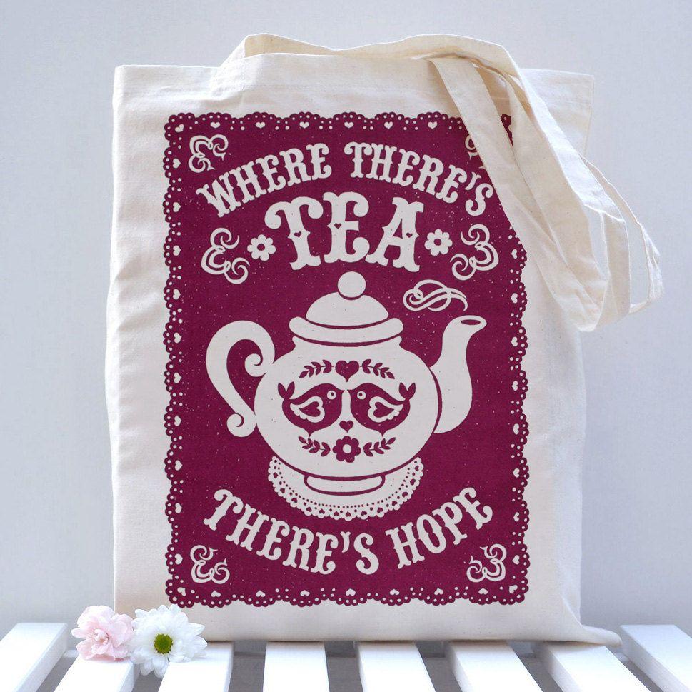 Tea Lovers Tote Bag 16 00 Via Etsy With Images Tea Gifts Tea Lover Tea Art