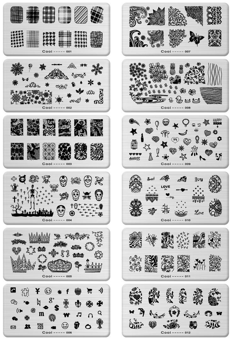 Cm pcslot konad design stamp image plate stamping nail art