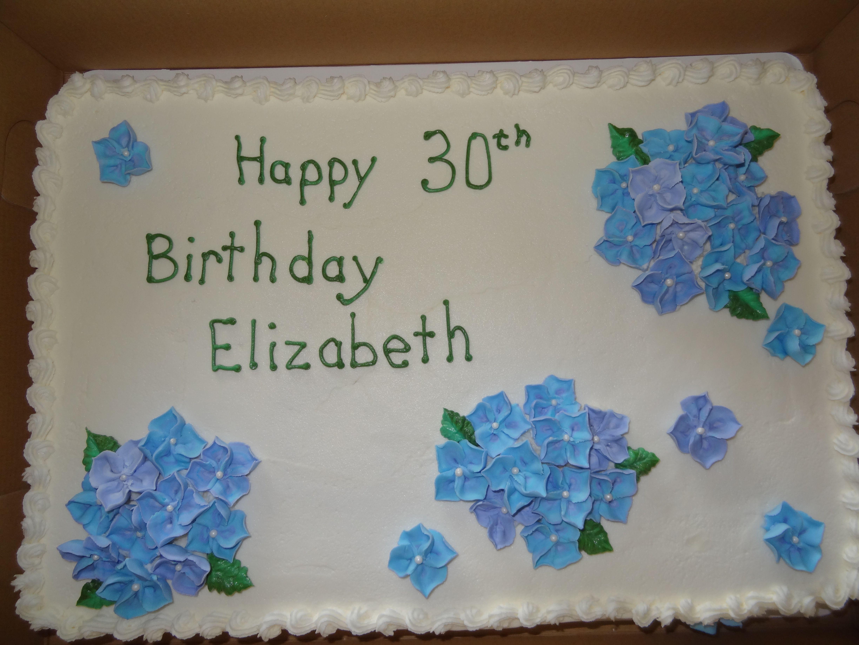 Birthday Sheet Cake With Royal Icing Hydrangea Flowers
