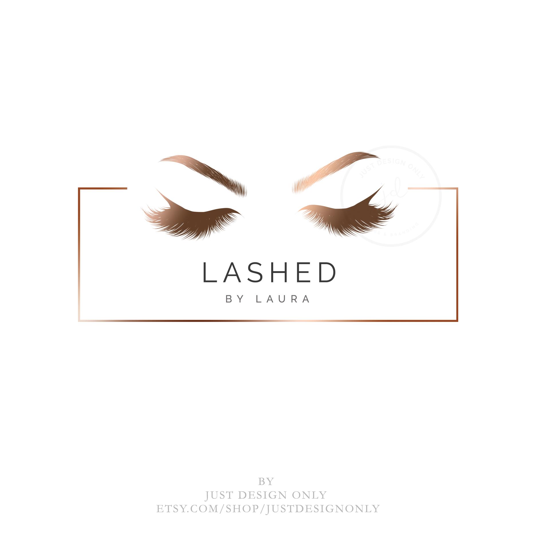 INSTANT DOWNLOAD, Lash logo, Eyelash Rose Gold logo