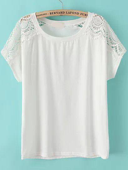 White Lace Short Sleeve Loose T-Shirt