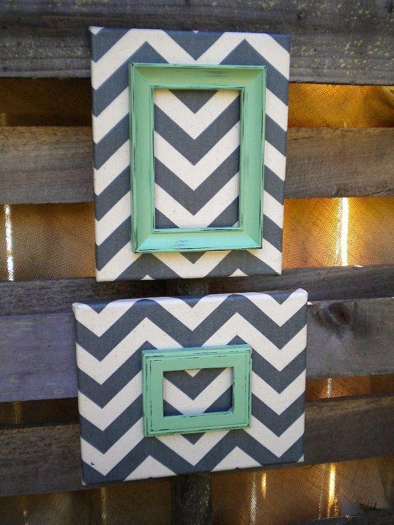 Chevron Mint Green Gray Light Switch Plate Wall Cover  |Chevron Gray Green Walls