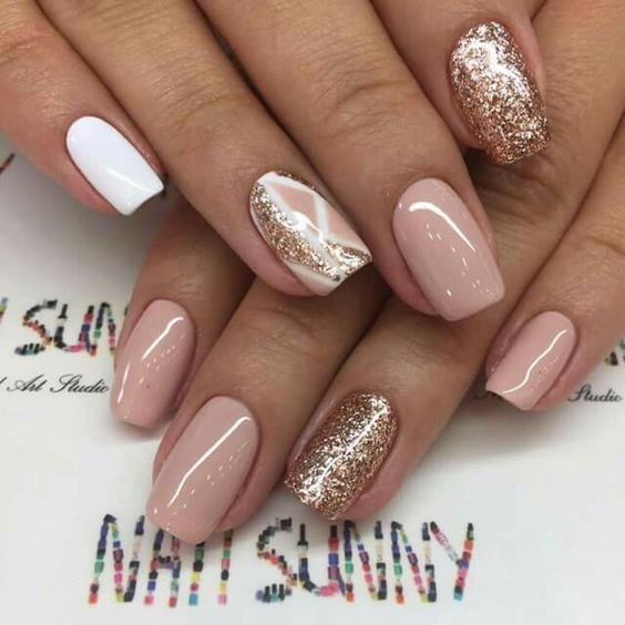 Nageldesign Schlicht Glitzer 75 Gold Silver White Bling Glitter Wedding Nails | Ongles