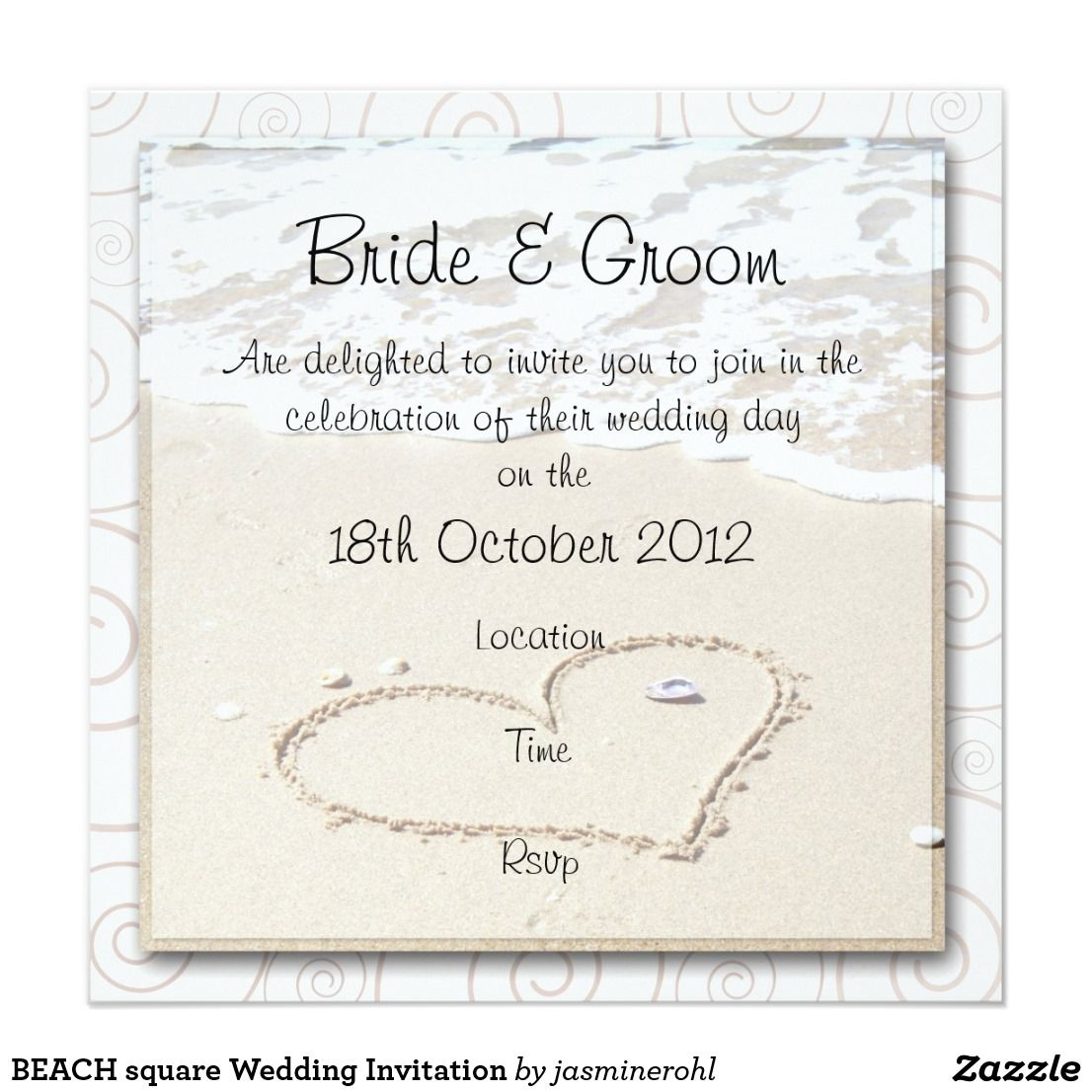 BEACH square Wedding Invitation | Square wedding invitations, Beach ...