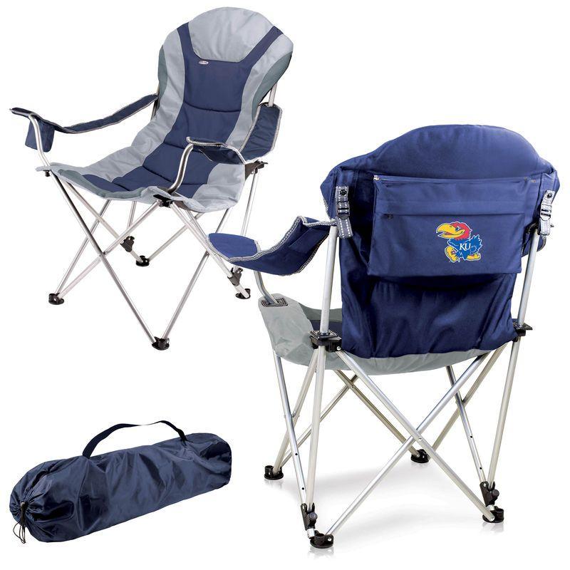 Kansas Jayhawks Reclining Camp Chair - Navy Jayhawks de kansas - sillas de playa