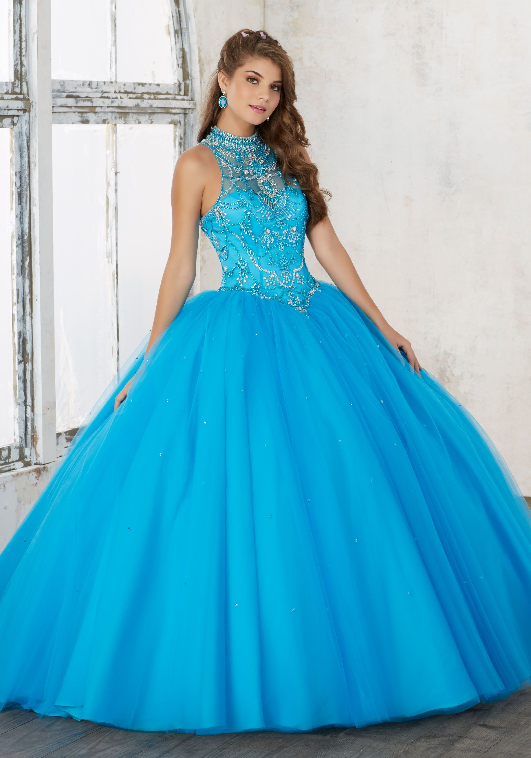e8cae355310 Jeweled Beading on a Tulle Quinceañera Ball Gown