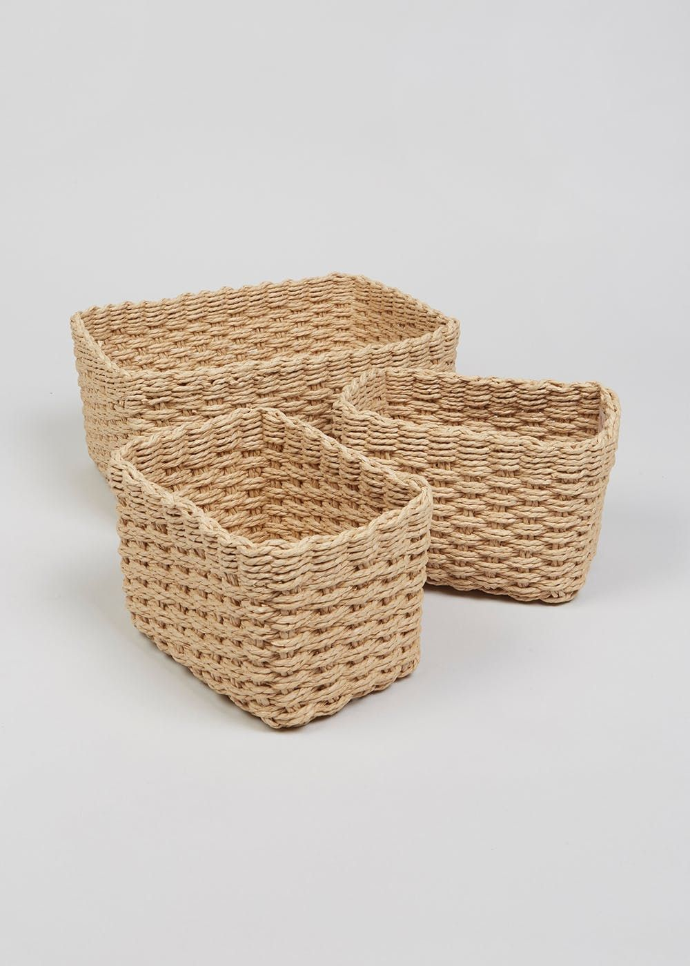 Set Of 3 Paper Rope Storage Baskets Natural Large Storage Baskets Storage Baskets Basket