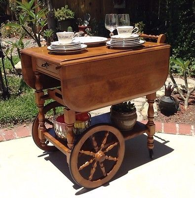 Vintage Tea Coffee Cart Microwave Wooden Kitchen Serving Carts On Wheels